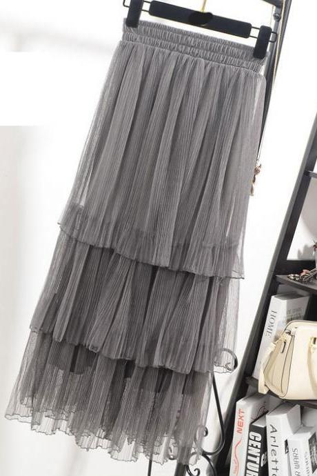 High Waisted Tiered Ruffle Tulle Skirt - Black, White, Gray