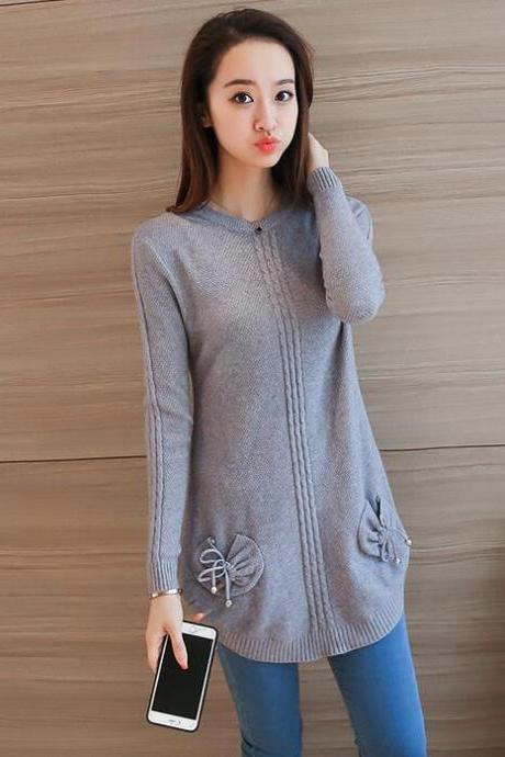 Sweet Round Neck Pocket Casual Sweater