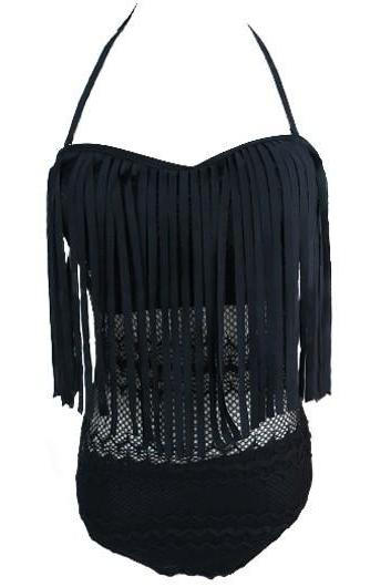 Halter Neck Tassel Lace Panel One Piece Swimwear - Black