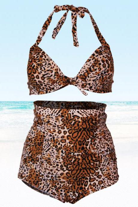 New High Waisted Leopard Bikinis Swimsuits