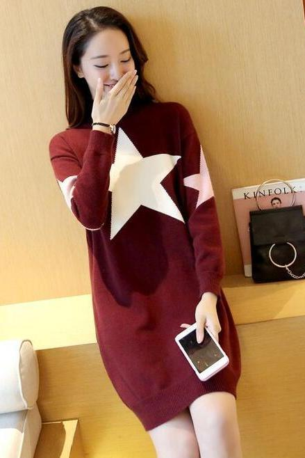 Cute Star Loose Pullover Sweater Dress - Wine Red