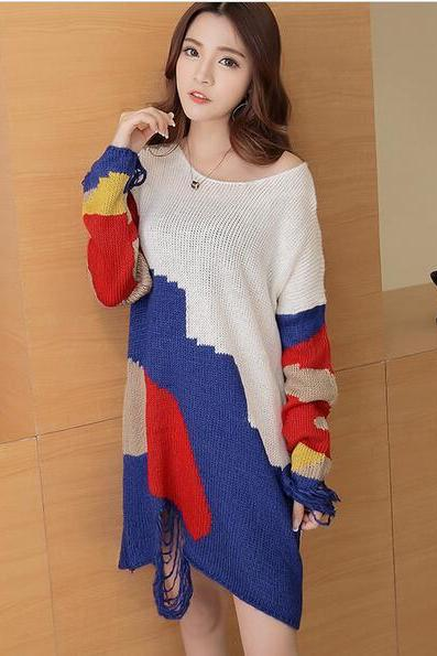 Autumn New Long Hole Loose Sweater Dress For Lady