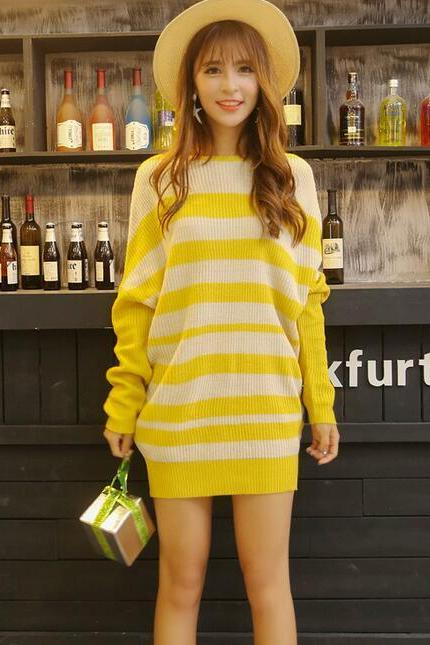 Yellow Strip Casual Bat sleeve Cardigans Sweater for Woman