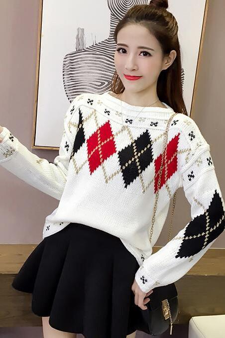 Fashion New Style Long Sleeves Diamond Design Knitting Sweater