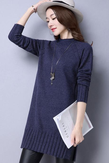Fashion Women Long Sleeve Regular Pullovers Sweater - Dark Blue