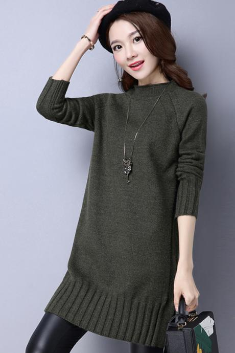 Fashion Women Long Sleeve Regular Pullovers Sweater - Amy Green