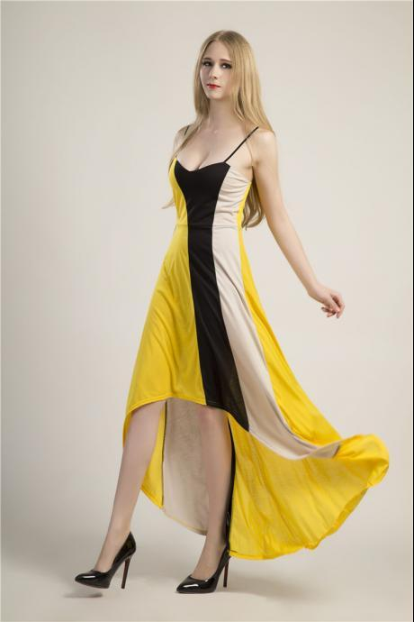 Sexy Yellow Sleeveless Maxi Dress
