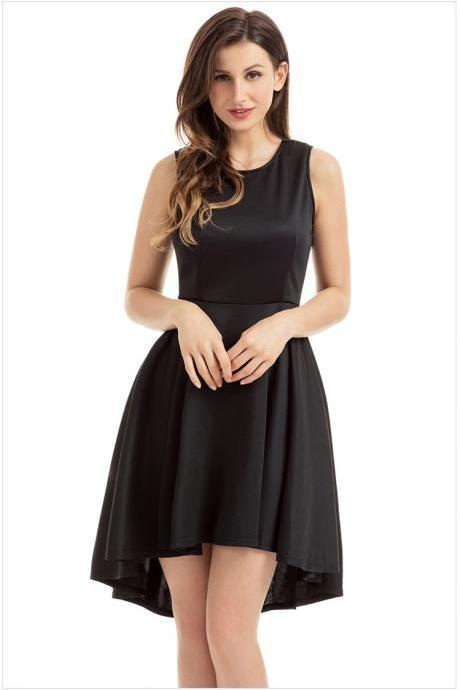 Black Crew Neck Sleeveless High Low Ruffled Skater Dress