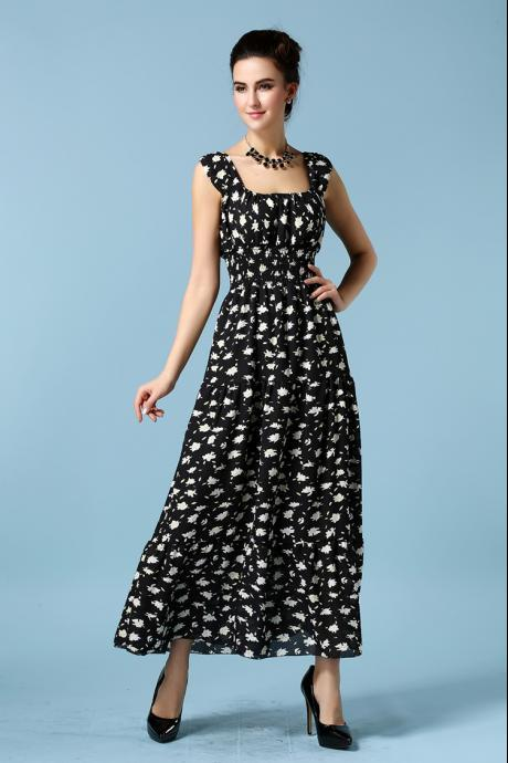 Fashion New Sleeveless Printing Long Maxi Dress