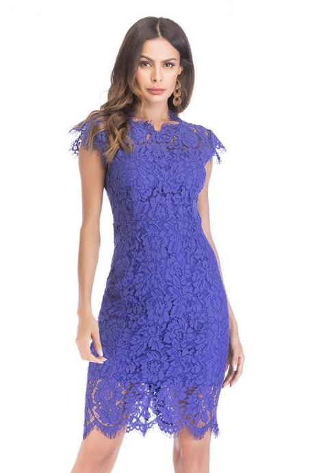 Vintage Solid Lace Sleeveless Tight Dress - Blue