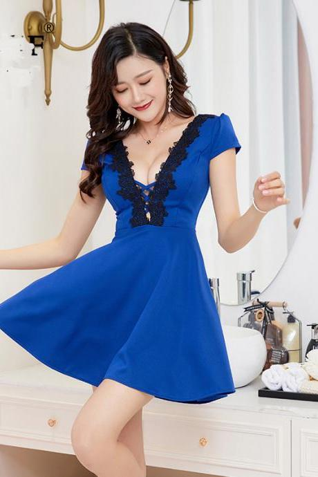 Fashion V Neck Short Sleeve Sexy Club Mini Dress - Blue