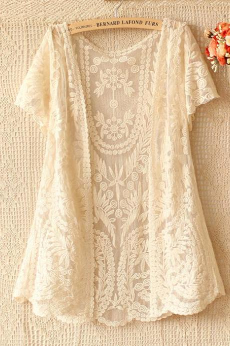 Free shipping Summer Short Sleeve Lace Cardigans for Woman
