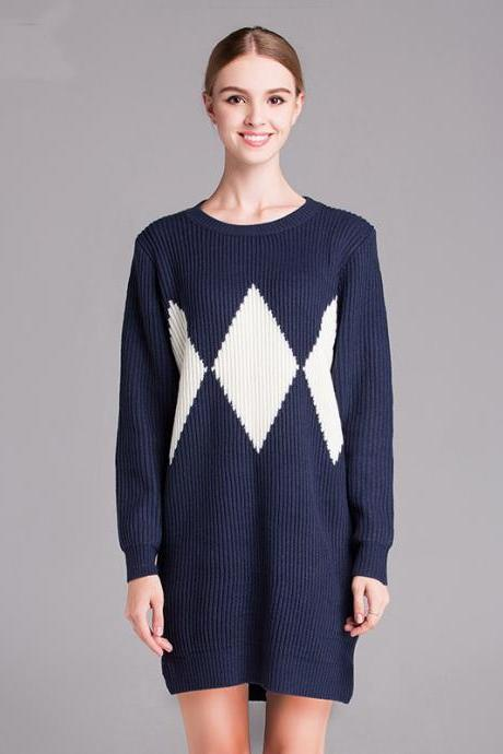 Large Size Diamond Pattern Warm Knit Women Sweaters And Pullovers - Dark Blue