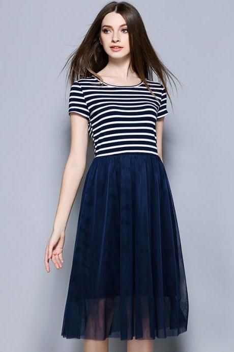 Fashion New Stripe Short Sleeve Dress