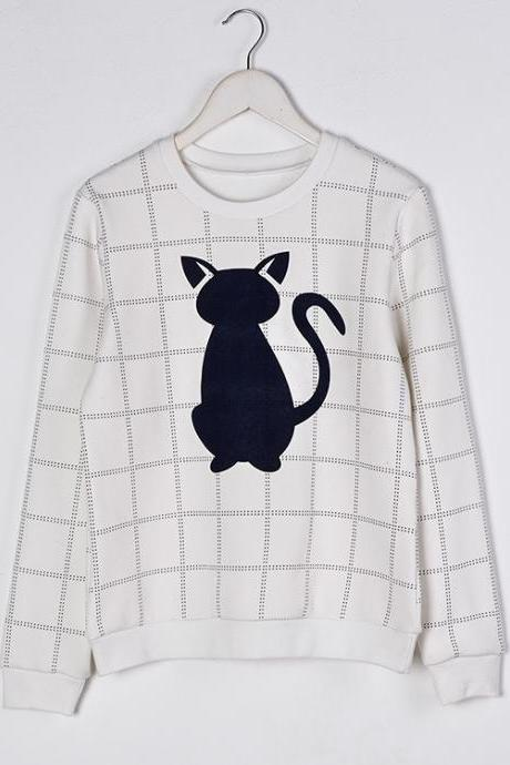 Cute Cat Pattern Long Sleeve Shirt For Women