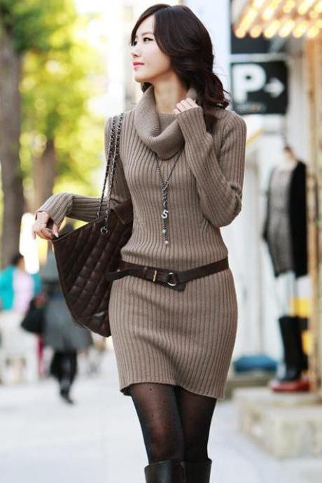 High Quality Long Sleeve Turtle Neck Sweater Dress - Beige
