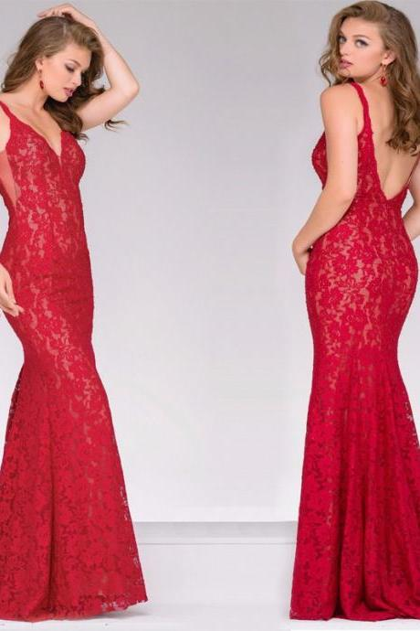 Sexy Lace Sleeveless Open Back Red Mermaid Dress