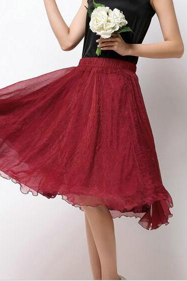 High Waist Chiffon Midi Skirt Summer Ladies Casual Slim Beach Skirts - Wine Red