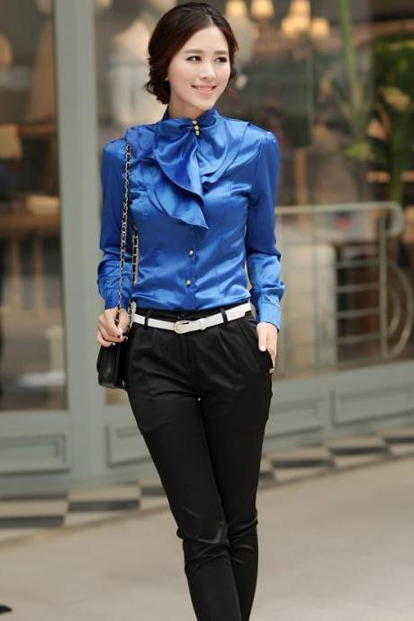 Laconic Mandarin Collar Puff Sleeve Ruffled Rayon Shirt - Blue