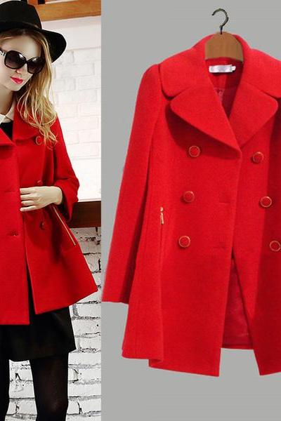 High Quality Red Wool Coat