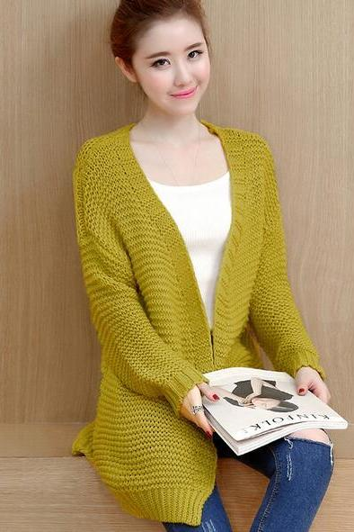 Long Sleeve Woolen Sweater Cardigan Coat For Women