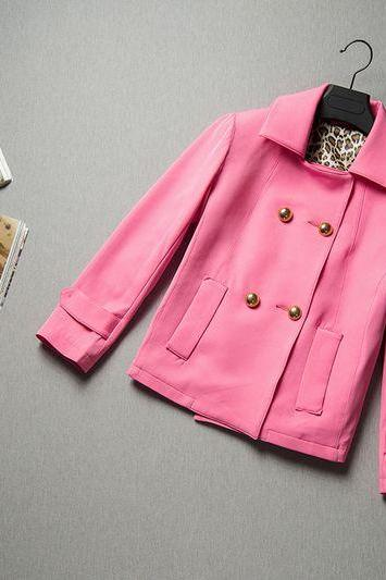 Cute Pink Short Trench Coat For Women