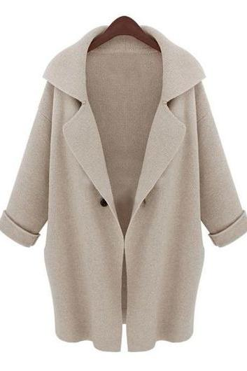 Fashion New Turndown Collar Beige Long Sleeve Cardigans