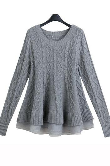 Fashion And High Quality Long Sleeve Flouncing Hem Sweater (2 Colors)