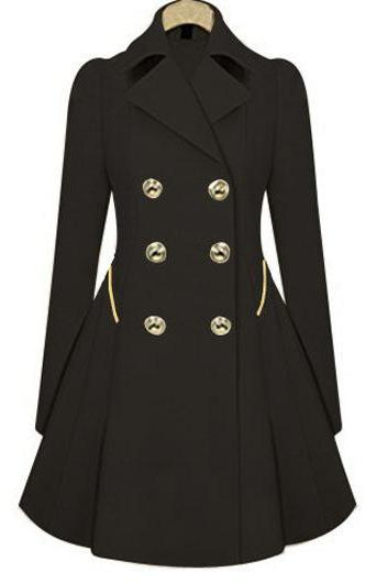 Fashion Long Sleeve Turndown Collar Trench Coat with Button - Black