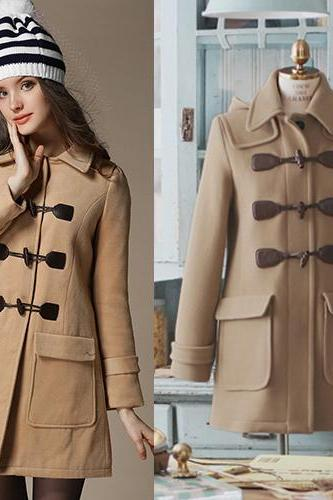 Fashion And High Quality Turndown Collar Cape Woolen Coat - Light Tan