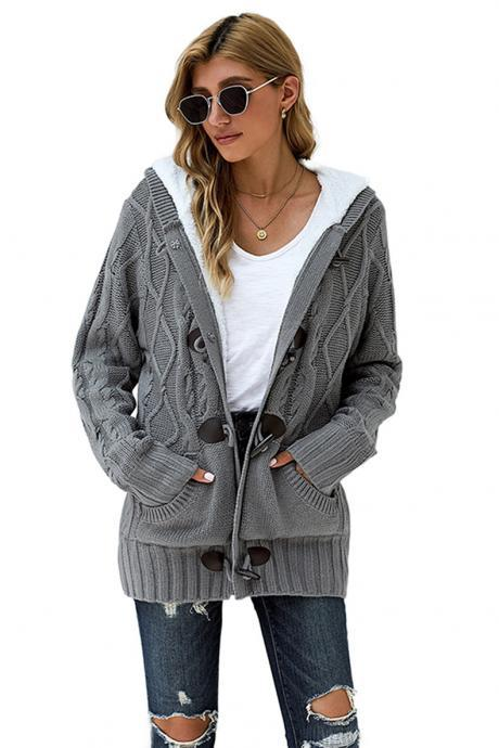 High Quality Long Sleeve Hooded Collar Sweater - Grey