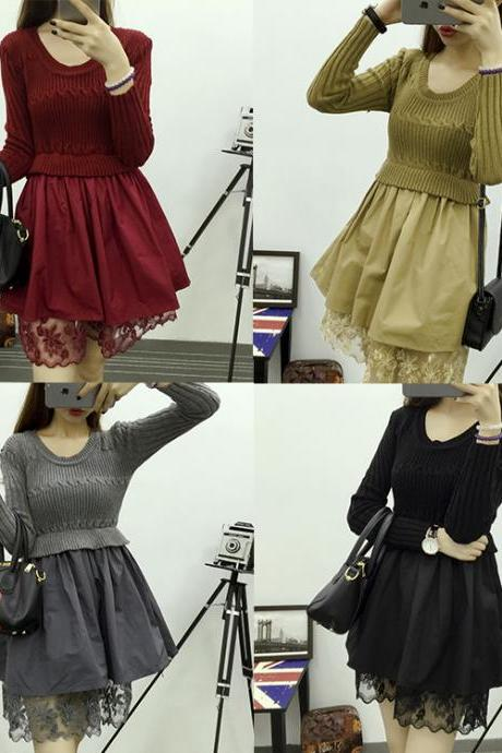 Fashion Long Sleeve Lace Sweater Dress (4 Colors)