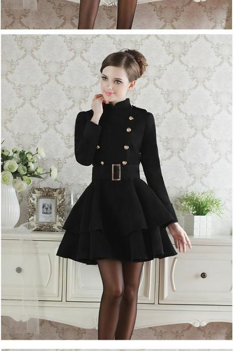 Cool Black Button Woolen Coat For Lady
