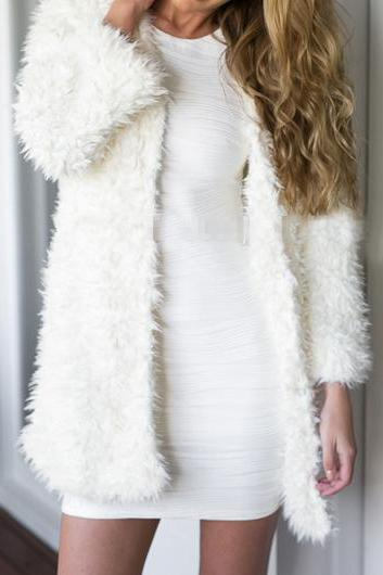 Casual White Long Sleeve Faux Fur Long Coat