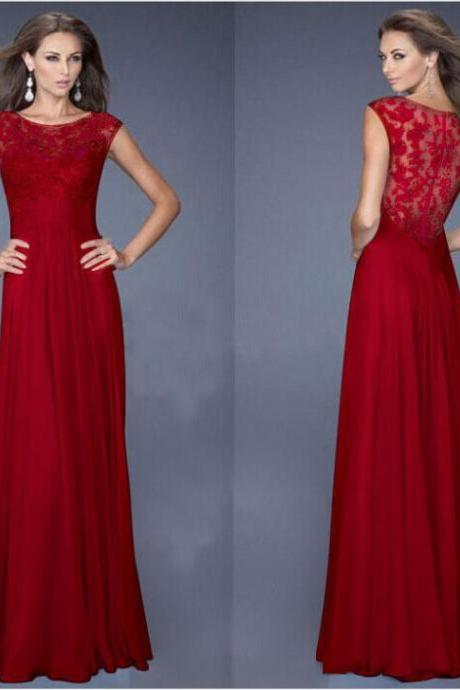 Elegant Sleeveless Lace Patchwork Maxi Chiffon Evening Dress - Red