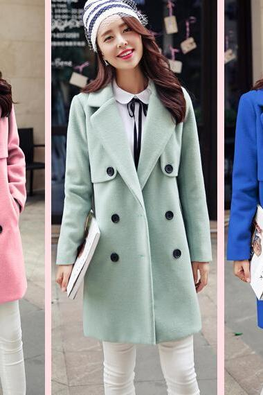 Fashion Long Style Double Breasted Wool Coat (3 Colors)