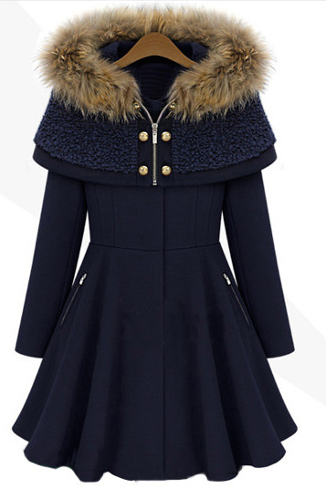 High Quality Cloak Design Hooded Collar Coat - Navy Blue