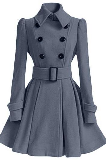 High Quality Long Sleeve Belted Coat - Grey