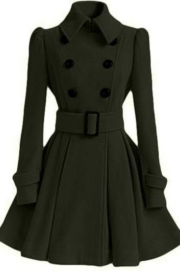 High Quality Long Sleeve Belted Coat - Black