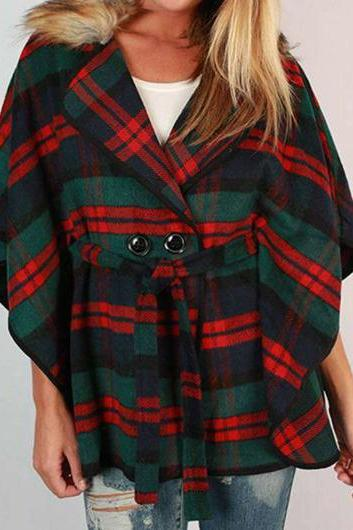 Fashion Double Breasted Plaid Print Turndown Collar Coat