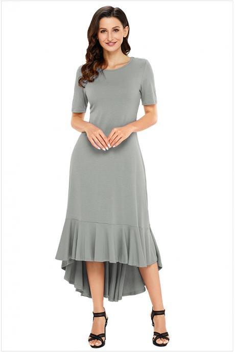 Fashion Round Neck Short Sleeve Long Dress - Grey
