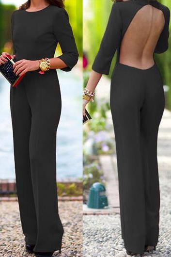Free shipping Three Quarter Sleeve Open Back Straight Jumpsuit - Black