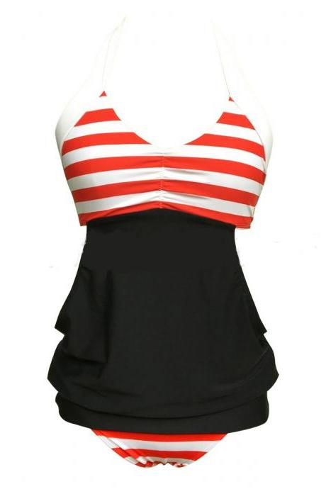 Womens Stripes Lined Up Tankini Top Swimwear - Red