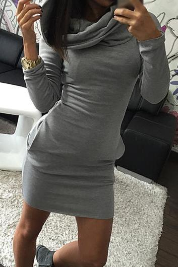 Fashion Long Sleeve Pocket Decorated Mini Dress (3 Colors)