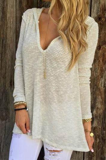 Fashion Long Sleeve Beige Hooded Collar Sweater