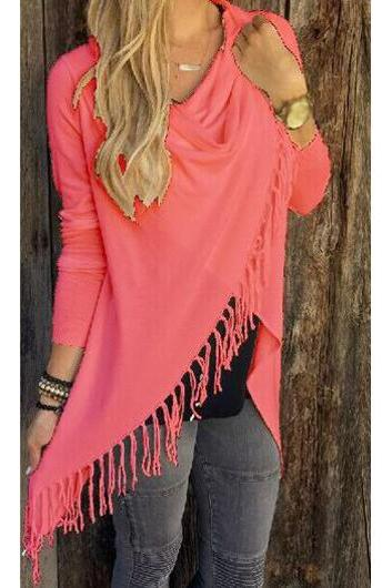 Fashion Tassel Embellished Asymmetric T Shirt