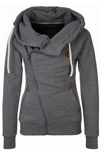 Fashion Zipper Closure Hooded Sweats (6 Colors)
