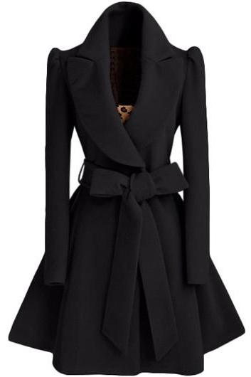 High Quality Belt Design Turndown Collar Coat - Black