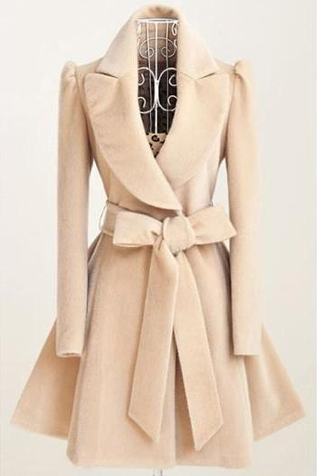 High Quality Belt Design Turndown Collar Coat - Light Khaki