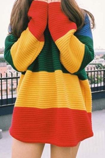 Casual Long Sleeve Color Block Long Sweater